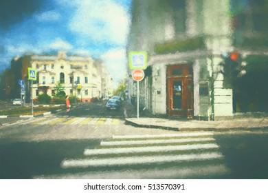 urban environment of human habitation. city- street buildings, people, sidewalk