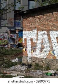 Urban environment with trash and graffiti