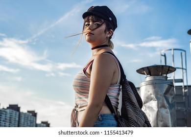 Urban Fashionista Girl posing seductive like a pro model