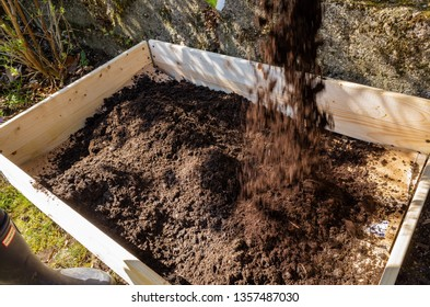 Urban Gardening - a bed is prepared for planting with vegetables