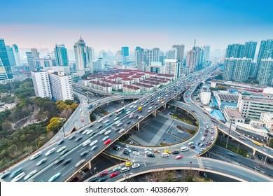 urban grade separation bridge at dusk , shanghai ,China