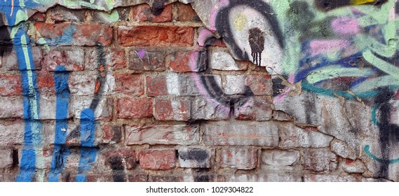 Urban Graffiti Grunge Colorful Brick Wall With Abstract Pattern Background Or Texture. Old Red Brickwall With Grafiti Street Art Elements And Details. Modern Street Art Concept. Web Banner