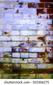 Urban grunge: Detail of whitewashed exterior brick wall, with filtered effects, for texture and background (tenth in a series of eleven)