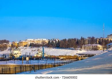 Urban harbor in winter Uglich