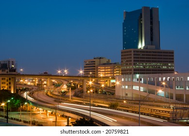 Urban Highway Interchange and Buildings Shortly Before Dawn