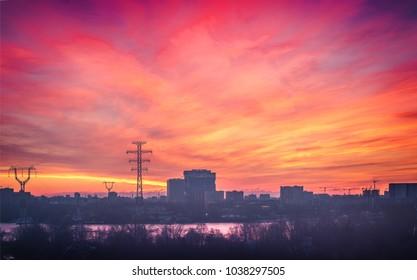 urban horizon at sunrise