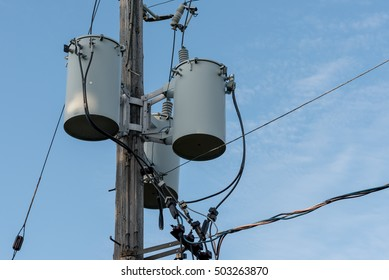 Urban hydro one pole with electrical transformers and wires connected