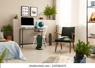 Urban jungle in bright bedroom interior with retro armchair and workspace with all in one computer and globe