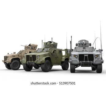 Urban, jungle and desert color military tactical vehicles - 3D Illustration