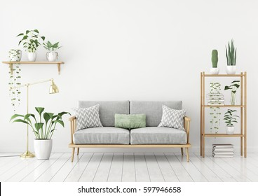 Light Green And White Living Room