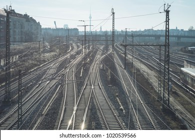 urban landscape with complicated railway system in Berlin