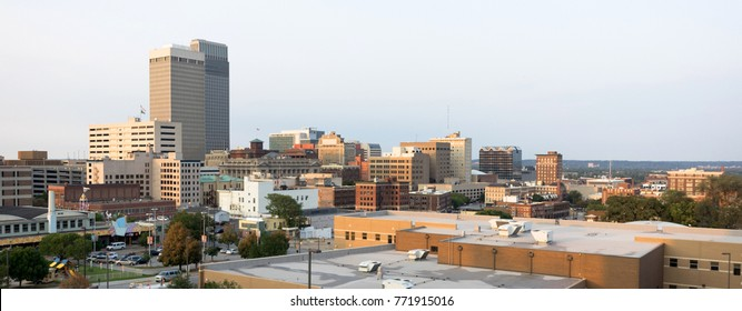 The urban landscape of downtown Omaha Nebraska just before sunset