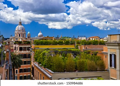 Urban landscape of the green roofs of Rome buildings