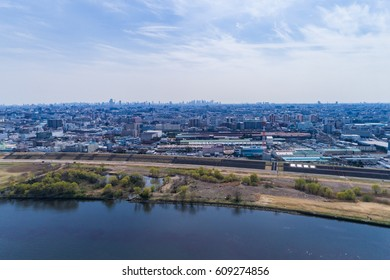 Urban landscape of Japan seen from the sky