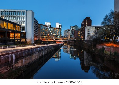 Urban landscape of Manchester and River Irwell passing through Manchester city centre.