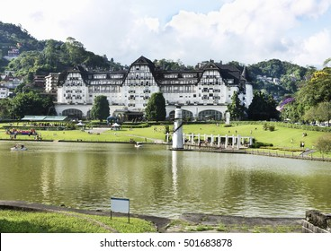 Urban Landscape - natural lake - people in leisure day - with the palace in the background
