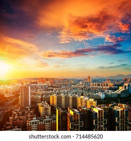 Urban landscape in night of shenzhen,china