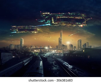 Urban landscape of post apocalyptic future with flying spaceships or life after a global war. Digital art.