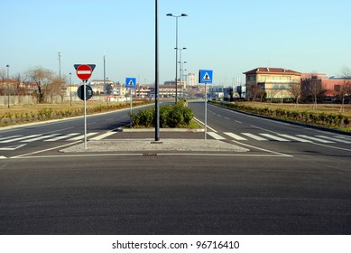 urban landscape with streets and road signs