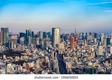 The urban landscape of Tokyo as seen from Shibuya Ward, Tokyo.