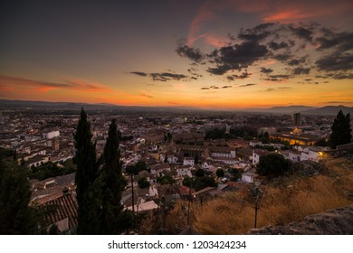 Urban landscape, view of the city of Granada at sunset, southern Spain