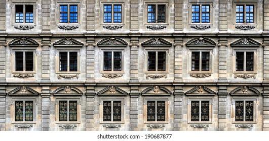 Urban landscape in Zurich Switzerland, windows of building