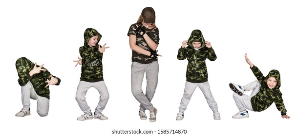 Urban lifestyle. Hip-hop generation. Mother and two son dance hip-hop.