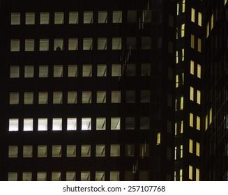 Urban lights at night in the center of Frankfurt, Germany