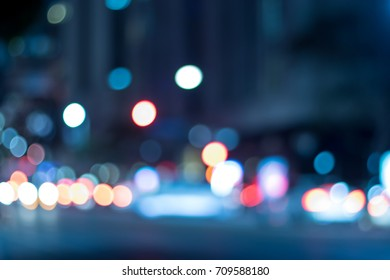 The Urban Lights at Night in the City of Los Angeles; Blur Background with Bokeh Effects