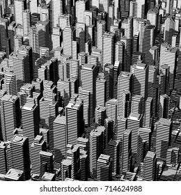 Urban lines graphic / 3D illustration of black and white city graphic