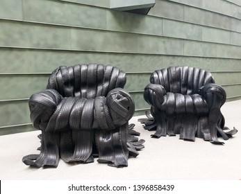 Urban and modern tire chair, sofa sculpture in KUMU Museum of Modern Art in Tallinn, Estonia