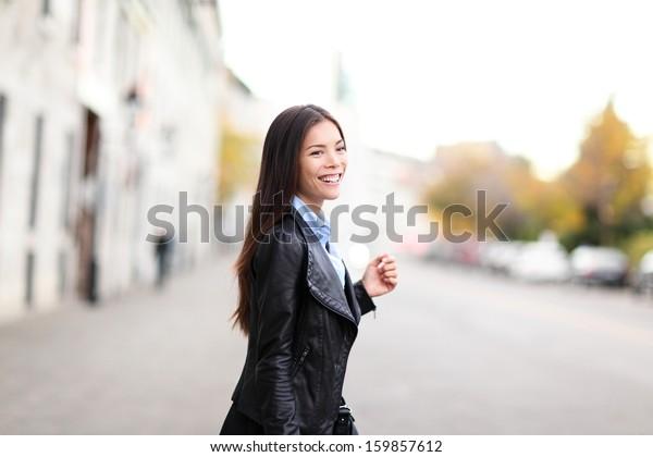 Urban Modern Woman Outdoor Walking Street Stock Photo (Edit