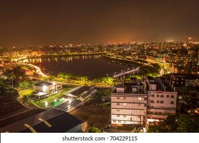 urban night skyline dhaka, bangladesh