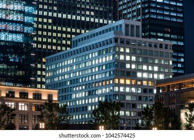 Urban night view of Tokyo and skyscrapers