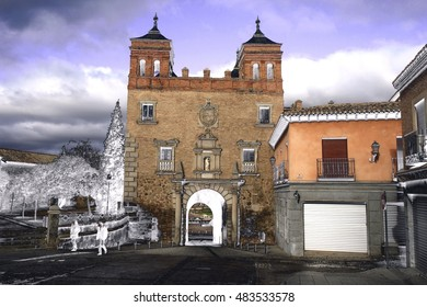 urban old surreal landscapes of Toledo, geometric composition of Cambron door in Toledo, Spain, surrealistic composition, street of Toledo,Spain,