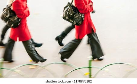 urban pedestrians at autumn
