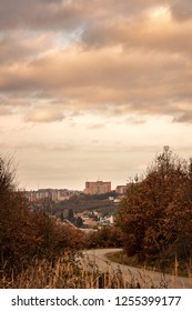 Urban Photography. Morning sunlight/sunrise in the city Zlin, Czech Republic, Europe with autumn mood of the location. Cloudy color sky as a background.