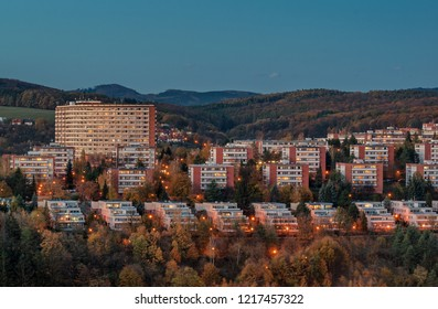 Urban photography of typical residential buildings of inhabitans in the city Zlin, Czech Republic, Europe. Picture taken during blue hour with blue sky make a nice image of this Bata town.
