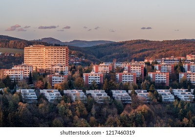 Urban photography of typical residential buildings of inhabitans in the city Zlin, Czech Republic, Europe. Picture taken during sunset with colurful sky, building make a nice image of this Bata town.