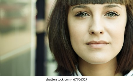 urban portrait , selective focus on eye (left part of image, special toned)