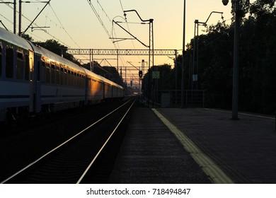 Urban  railroad in the evening.