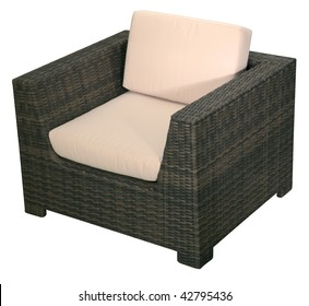 Urban rattan armchair isolated on a white background