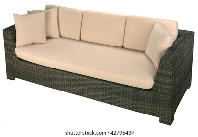 Urban rattan sofa isolated on a white background