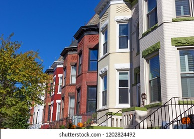 Urban residential architecture of US capital with fall decorations. Historic row houses in Colombia Heights neighborhood of Washington DC, USA