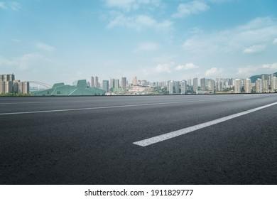Urban road ground and modern architectural landscape