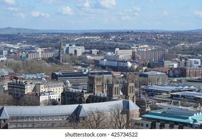 Urban Rooftop City View of Bristol, United Kingdom