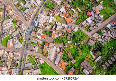 Urban Rooftops, Aerial View In Banos De Agua Santa, Tungurahua Province, In The Daylight, South America