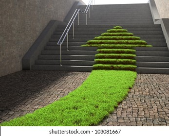 Urban scene with arrow shaped grass patch growing on a stairway