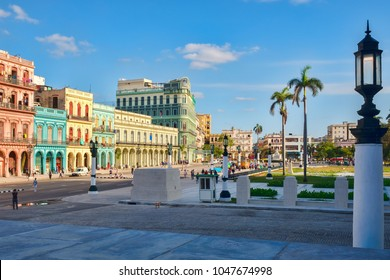 Urban scene with colorful buildings next to the Capitol in downtown Havana