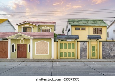 Urban scene picturesque colored houses on avenue at Guayaquil city, Ecuador